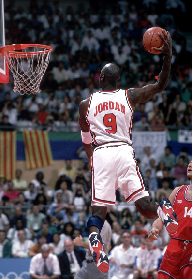 Basketball: 1992 Summer Olympics: USA Michael Jordan (9) in action, dunk vs Croatia during Men's Gold Medal Game at Pavello Olimpic de Badalona. Dream Team. Badalona, Spain 8/8/1992 CREDIT: John W. McDonough (Photo by John W. McDonough /Sports Illustrated/Getty Images) (Set Number: X43181 TK22 R3 F15 )
