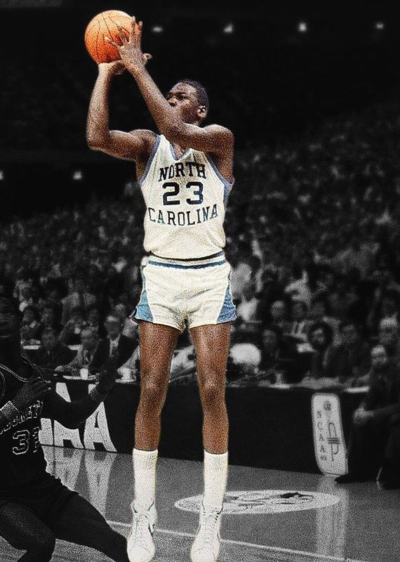 UNITED STATES - MARCH 29:  College Basketball: NCAA Final Four, North Carolina Michael Jordan (23) in action, making game winning shot vs Georgetown, New Orleans, LA 3/29/1982  (Photo by Heinz Kluetmeier/Sports Illustrated/Getty Images)  (SetNumber: X26699)